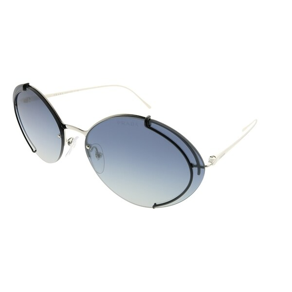 c06ce3e59 Prada Oval PR 60US GAQ3A0 Women Silver Black Frame Blue Mirror Gradient  Silver Lens Sunglasses