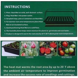 Seedling Heat Mat 10x20.75 Inch Seed Growing Pad Germination Propagation Clone - Black