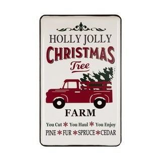 Glitzhome Farmhouse Metal Enamel Sign, Truck,Tree Farm,Reindeer