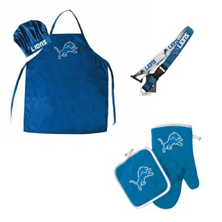 NFL Detroit Lions Sports Team Logo Combo BBQ Set - Chef Hat, Apron, Oven Mitt Pot Holder and Lanyard