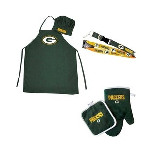 NFL Green Bay Packers Sports Team Logo Combo BBQ Set - Chef Hat, Apron, Oven Mitt Pot Holder and Lanyard