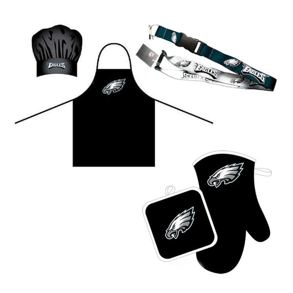 2fab98361f344 NFL Philadelphia Eagles Sports Team Logo Combo BBQ Set - Chef Hat, Apron,  Oven Mitt Pot Holder and Lanyard