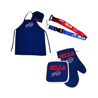 NFL Buffalo Bills Sports Team Logo Combo BBQ Set - Chef Hat, Apron, Oven Mitt Pot Holder and Lanyard