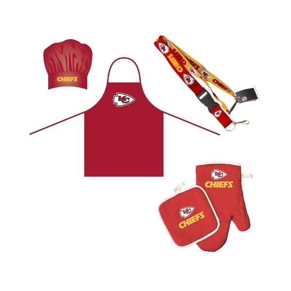 new product 07a53 7cf55 NFL Kansas City Chiefs Sports Team Logo Combo BBQ Set - Chef Hat, Apron,  Oven Mitt Pot Holder and Lanyard