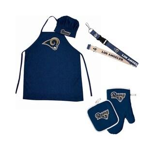 NFL LA Los Angeles Rams Sports Team Logo Combo BBQ Set - Chef Hat, Apron, Oven Mitt Pot Holder and Lanyard