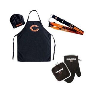 NFL Chicago Bears Sports Team Logo Combo BBQ Set - Chef Hat, Apron, Oven Mitt Pot Holder and Lanyard