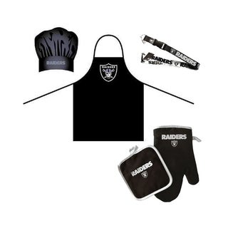 NFL Oakland Raiders Sports Team Logo Combo BBQ Set - Chef Hat, Apron, Oven Mitt Pot Holder and Lanyard
