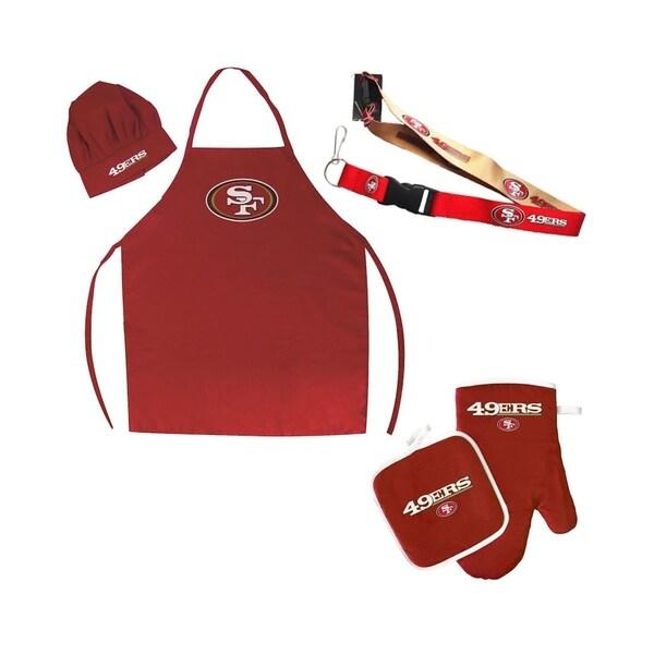 great fit 1e801 ddf29 NFL San Francisco 49ers Sports Team Logo Combo BBQ Set - Chef Hat, Apron,  Oven Mitt Pot Holder and Lanyard