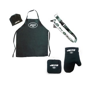 NFL New York Jets Sports Team Logo Combo BBQ Set - Chef Hat, Apron, Oven Mitt Pot Holder and Lanyard
