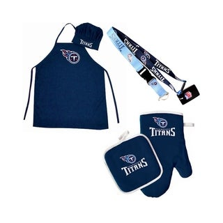NFL Tennessee Titans Sports Team Logo Combo BBQ Set - Chef Hat, Apron, Oven Mitt Pot Holder and Lanyard