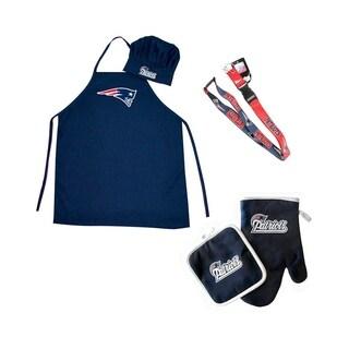 NFL New England Patriots Sports Team Logo Combo BBQ Set - Chef Hat, Apron, Oven Mitt Pot Holder and Lanyard