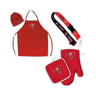 NFL Tampa Bay Bucs Sports Team Logo Combo BBQ Set - Chef Hat, Apron, Oven Mitt Pot Holder and Lanyard