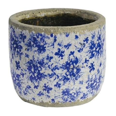 Distressed Terracotta Planter With Floral Motif, Blue & White