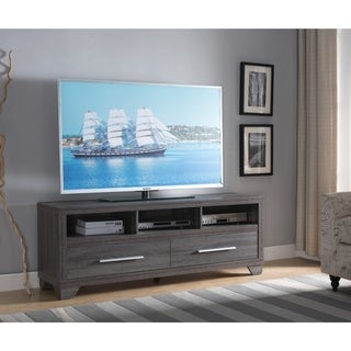 Wooden TV Stand With 2 Drawers and 3 Shelves, Distressed Gray