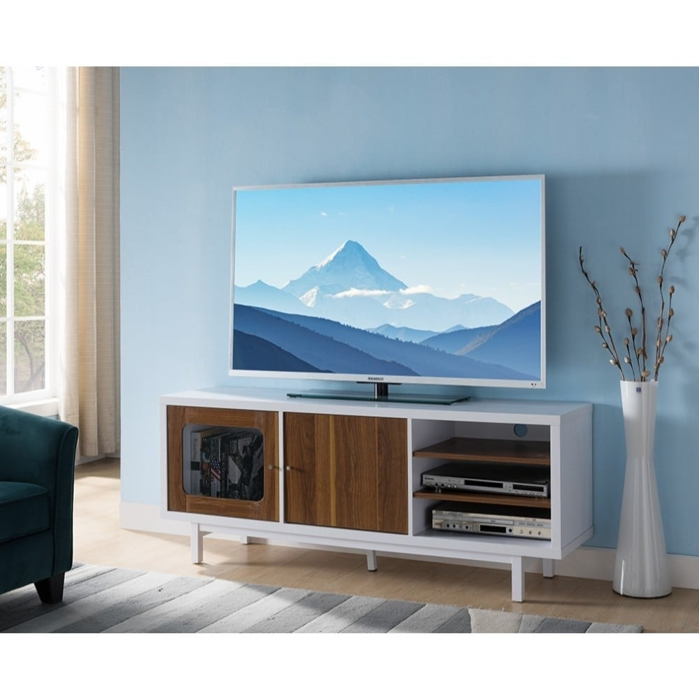 Dual Tone Wooden Tv Stand With 3