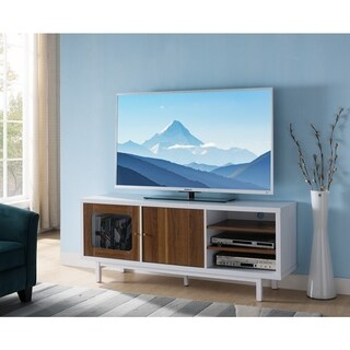 Dual Tone Wooden TV Stand With 3 Open Shelves, White And Brown