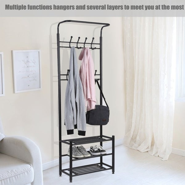 Entryway Shoes Storage Organizer Hall Tree Bench Coat Rack Hooks Clothes  Stand
