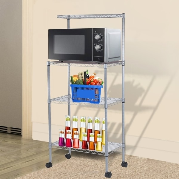 Beau Microwave Oven Stand With Wheels 3 Tier Removable Kitchen Bakeru0026#x27 ...