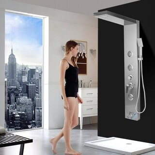 Thermostatic Shower Panel Tower Elegant Stainless Steel Mixer Shower Faucet