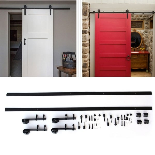 12ft Black Antique Heavy Duty Sliding Barn Wood Door Hardware Closet Set