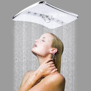 4 Setting Rectangular Waterfall Rainfall Jet Shower Head & Handheld Wand Combo