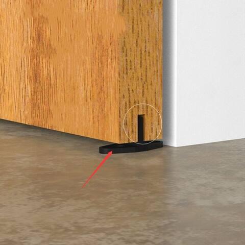Black 5.5ft Sliding Barn Door Wood Door Hanging Rail Type Black Sliding Track