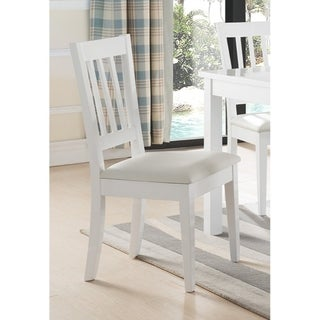 Wooden Dining Chair With Slatted Back, Set of Two, White