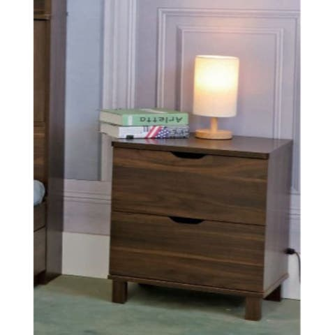 Wooden Night Stand with 2 Drawers , Dark Walnut Brown