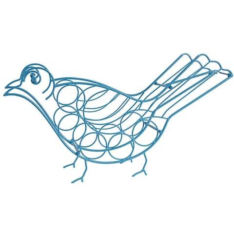 Bird Shape Metal Wine Holder, Blue