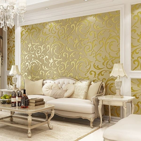 Shop Non-Woven Flocking Wall Paper Roll Wall Background ...