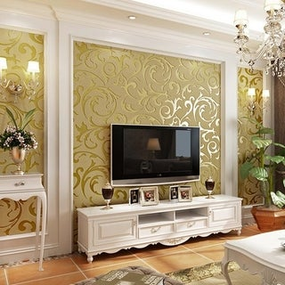 Non-Woven Flocking Wall Paper Roll Wall Background Living Room 3D Wallpaper
