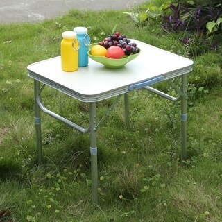 Height Adjustable Folding Portable Table With Handle Picnic Party Camping