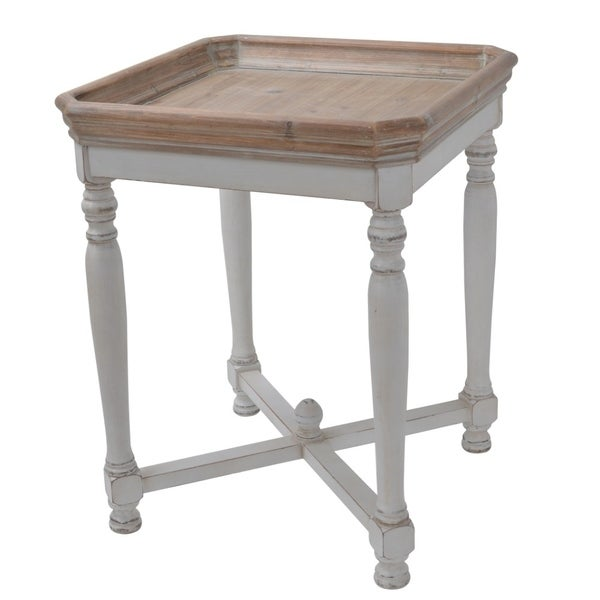 Square Shaped Wooden Side Table With Cross Base, Brown & White