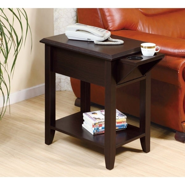 Wooden Chairside Table With Two Cup Holders Red Cocoa Brown