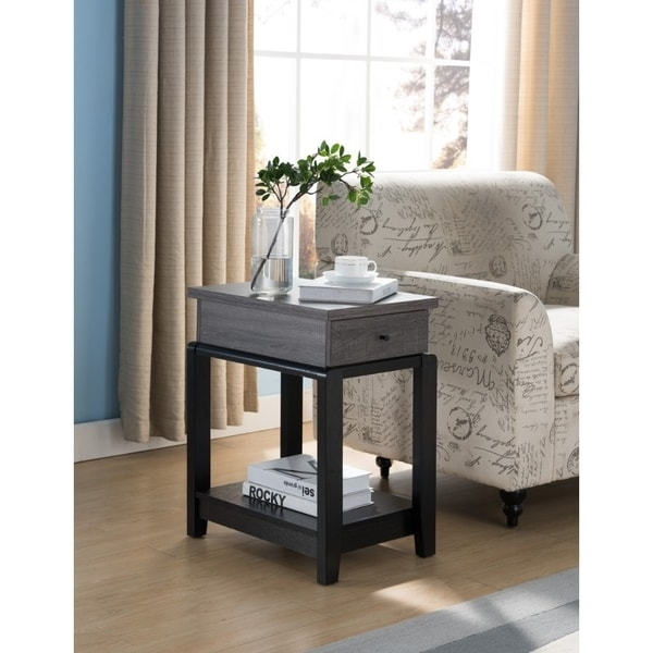 Wooden Chairside Table With Bottom Shelf, Distressed Gray And Black