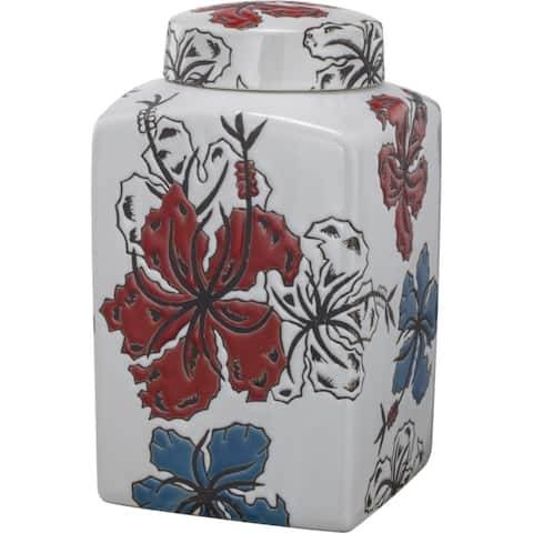 Square Shaped Ceramic Lidded Jar With Flower Design, Multicolor