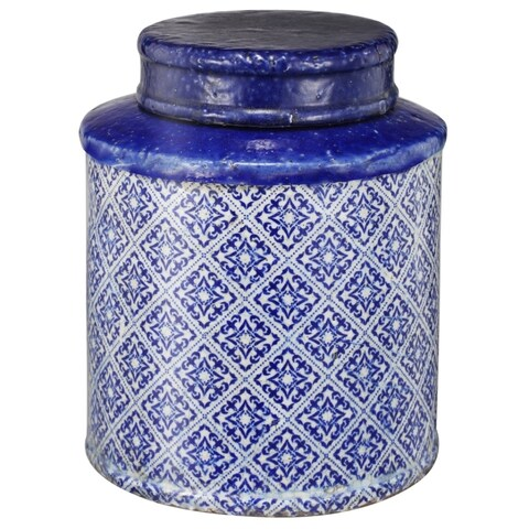 Distressed Terracotta Lidded Jar With Patterned Base, Large, Blue and White