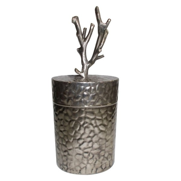 Metal Lidded Jar With Patterned Body , Silver