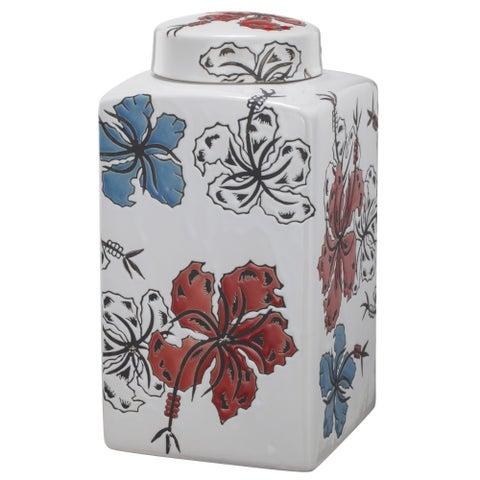 Square Shaped Ceramic Lidded Jar, Multicolor