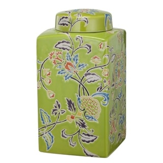 Floral Patterned Ceramic Lidded Jar, Multicolor