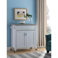 Wooden Kitchen Cart With One Drawer, White