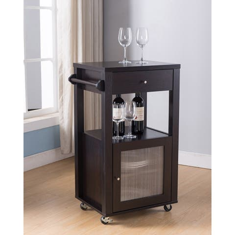 Movable Wooden Kitchen Cart With One Drawer In Red Cocoa Brown