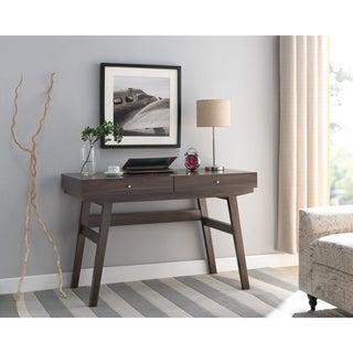 Wooden Desk With 2 Drawers, Dark Walnut Brown