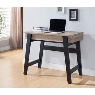 Wooden Desk With Pull Out Drawer, Brown And Black