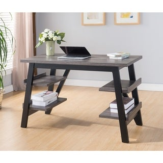 Wooden Desk With 4 Side Shelves, Distressed Gray
