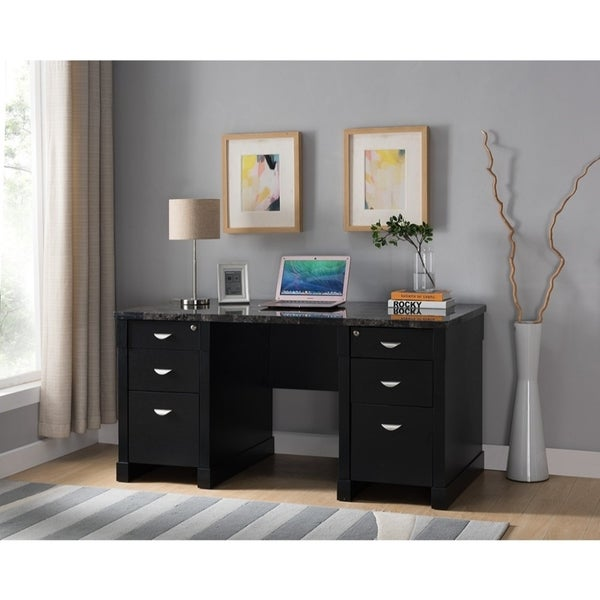 Shop Wood And Faux Marble Desk With Drawers Black Free