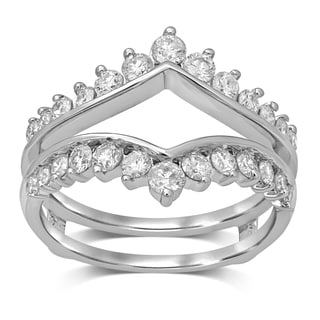 Unending Love 14K White Gold 1ct TDW Diamond Wrap Guard Ring