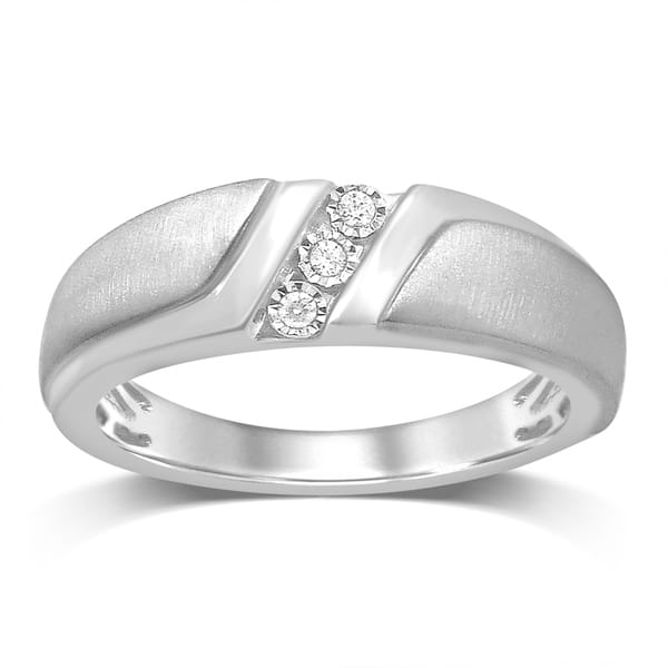 d3cc9b71cb15 Unending Love 10K Gold 0.05ct TDW Diamond Three Stone Gent s wedding Band  Ring ...