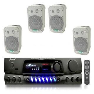 """Pyle Digital AM/FM Stereo Receiver 5.25"""" Indoor / Outdoor Waterproof Speakers"""