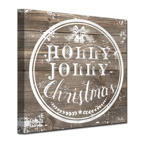 Olivia Rose 'Christmas Holly Jolly' Wrapped Canvas Textual Wall Art